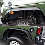 jku fender flare - TURBOSII Flat Style Front and Rear Fender Flares Kits for 2007-2015 Jeep Jku Rubicon Wrangler Unlimited Sport Sahara Jk 4 Door 2 Dr