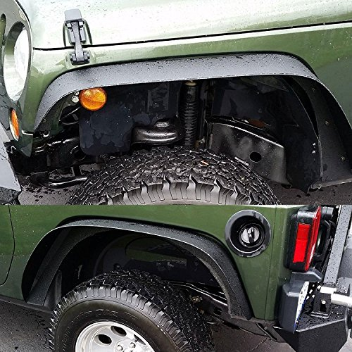 Long Rear Fender (TURBOSII Flat Style Front and Rear Fender Flares Kits for 2007-2015 Jeep Jku Rubicon Wrangler Unlimited Sport Sahara Jk 4 Door 2 Dr)