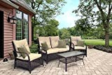 Sol Siesta Clubhouse Collection 4 Piece Conversation Set of Resin Wicker Patio Furniture, Brown