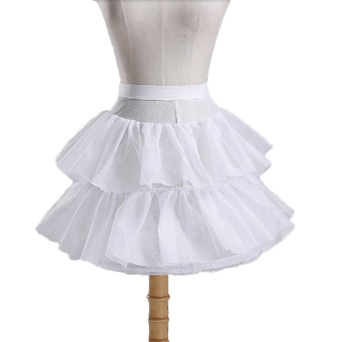 Monalia Kids 2 Layer Flower Girl Slip Wedding Underskirt Crinoline Petticoat MPC8 White by Monalia