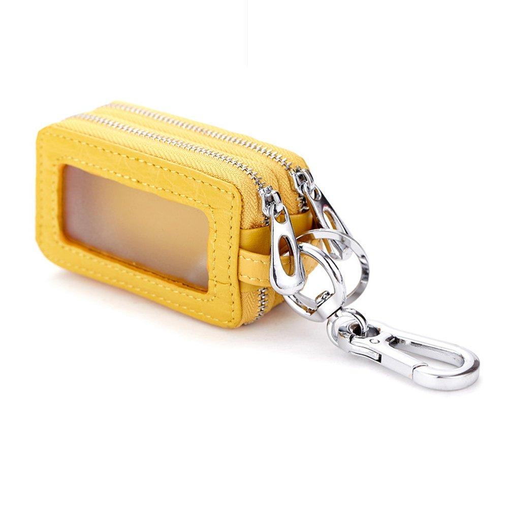 Wismart Genuine Leather Car key Chain bag Metal Hook Zipper Wallet Bag