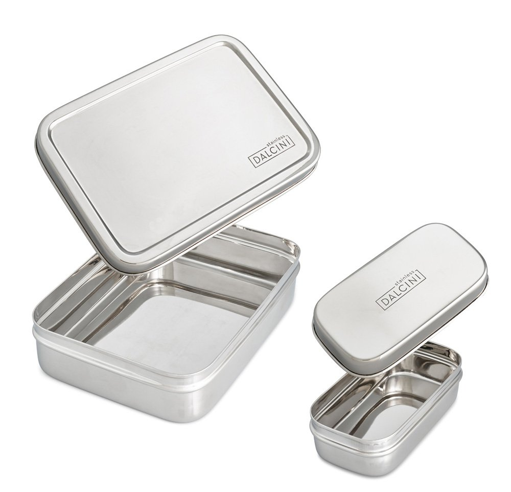 DALCINI Stainless Steel Lunch box 2-piece combo | Lunchbox + Little Removable Snacker Insert | Total of 4-Piece Bento Lunch Set | Dishwasher Safe | BPA-Free | Safe, Durable and Smell Proof Containers