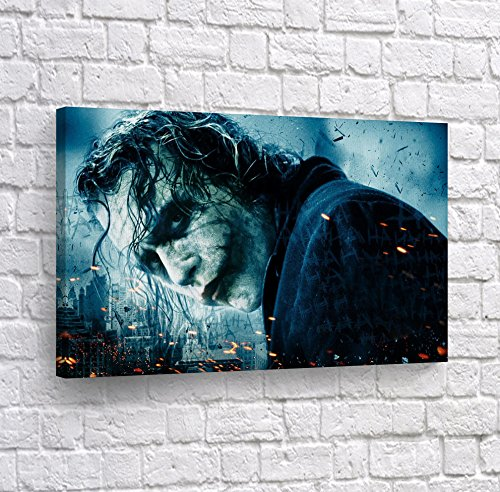 Joker Heath Ledger The Dark Knight in Sparks Canvas Print Wall Art Digital Paint Decorative Modern Home Decor Poster Artwork Framed and Stretched- Ready to Hang -%100 Handmade in The USA - 19x28