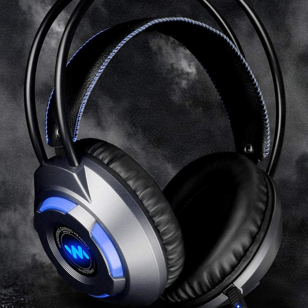HUIGE PC Gaming Headset Over-Ear Gaming Headphones with Mic LED Light Noise Cancelling /& Volume Control for Laptop Mac