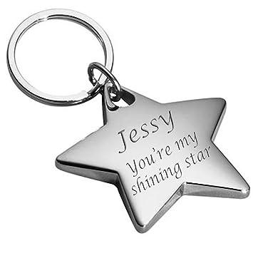 Amazon.com: Personalizado Silver Star llavero grabado ...