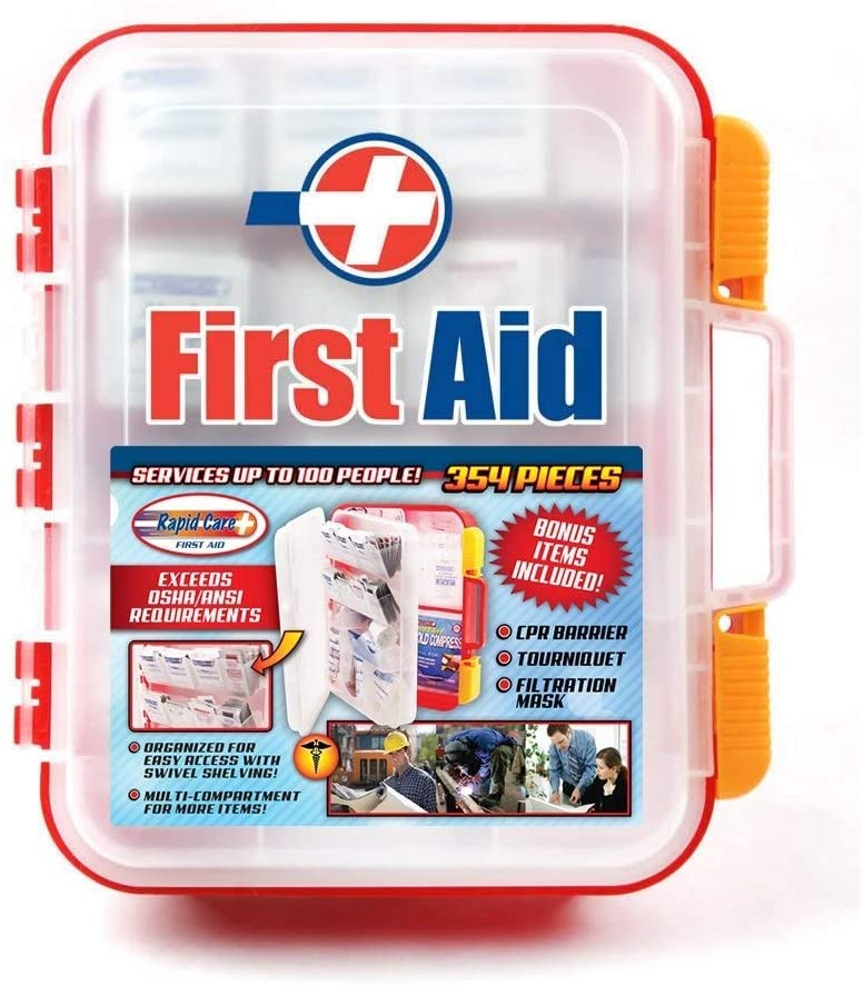 Rapid Care First Aid RC-BLMD-354 354 Piece ANSI/OSHA Compliant Emergency First Aid Kit, Wall Mountable, Multi Compartment with Easy Access Tilt Trays
