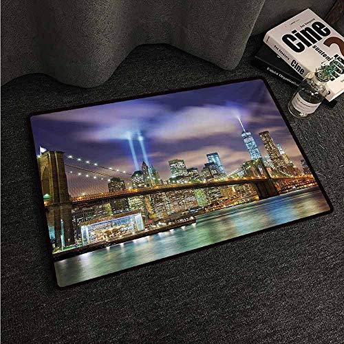 (HCCJLCKS Washable Doormat Landscape Manhattan Skyline with Brooklyn Bridge and Towers in NYC United States America Machine wash/Non-Slip W24 xL35 Puple Green)