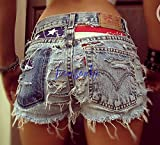 American flag clothing Levi high waisted American flag shorts distressed destroyed denim 4th / Fourth of July outfit by Jeansonly