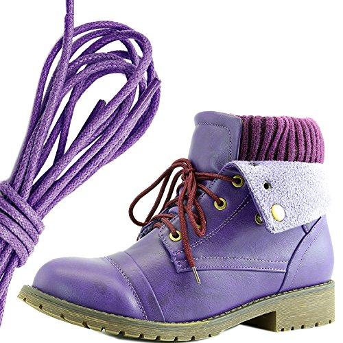 Dailyshoes Womens Boot Style Lace Up Maglione Stivaletto Alla Caviglia Con Taschino Per Porta Carte Di Credito Tasca Porta Soldi, Viola Viola Pu