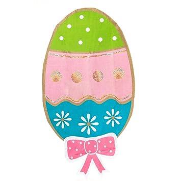 Amazon.com : Decorated Burlap Easter Egg Embellished House Flag ...