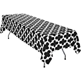 LinenTablecloth Black And White Trellis Rectangular Cotton Tablecloth, 60 X  126 Inch