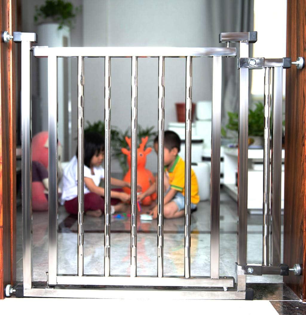 Puerta de seguridad para bebés de acero inoxidable, barandilla de escalera para niños, cerca de hogar para mascotas, adecuada para sala de estar, cocina, puerta de entrada: Amazon.es: Bebé