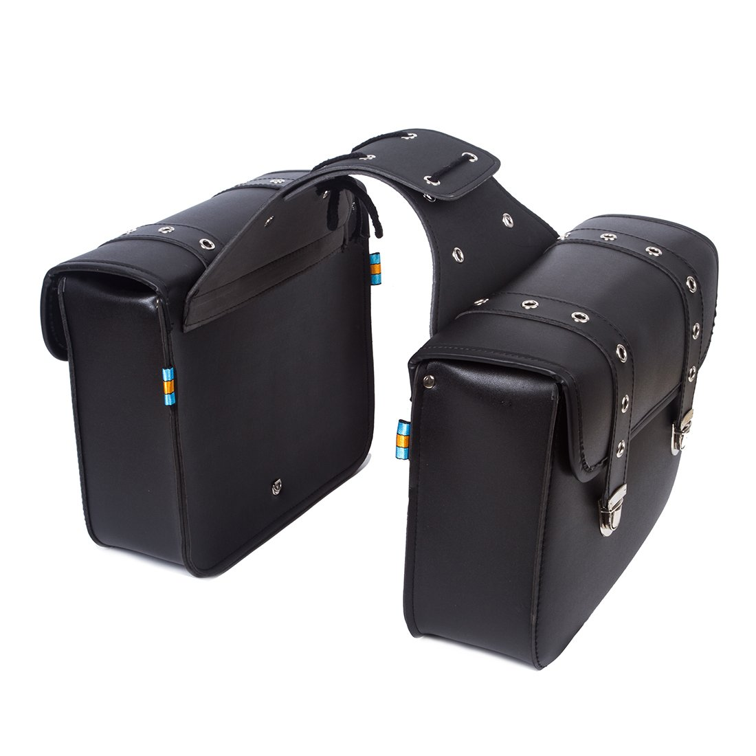 2PC Motorcycle Synthetic Leather 2-Strap Saddlebag Tool Bag Heavy-duty Waterproof Pvc