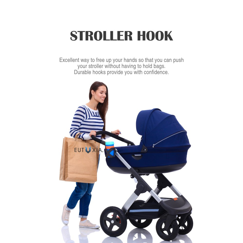 Eutuxia Universal Stroller Organizer Bag with Multiple Pockets and Detachable Wristlet Diapers and More! Extra-Large Storage Space for Bottles Toys Books iPhone