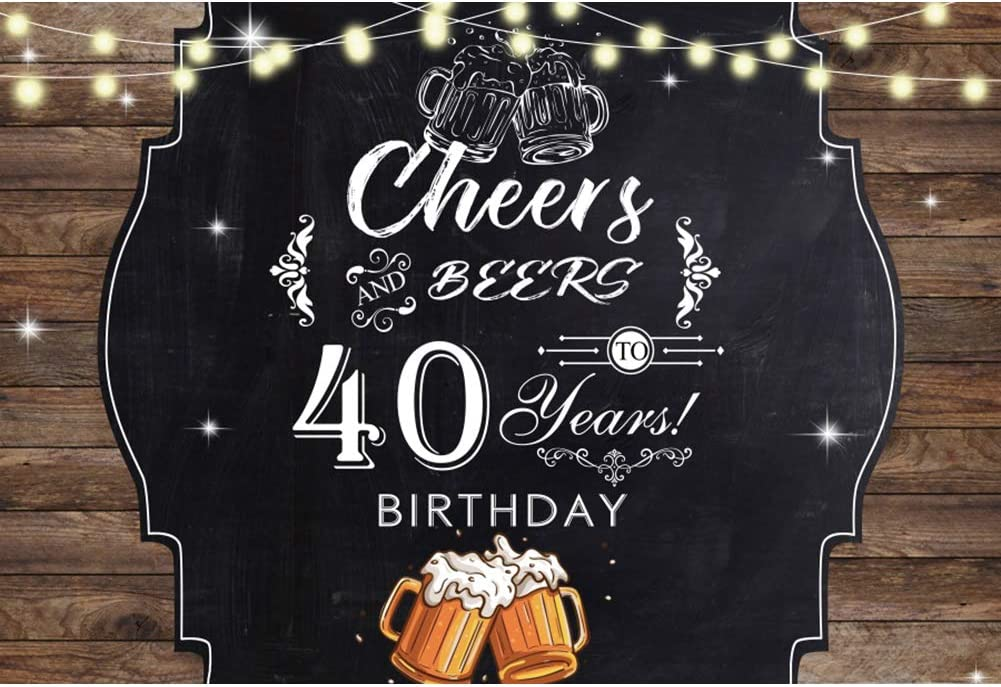 DORCEV 8x6ft 40th Birthday Party Photography Backdrop Vintage Brown Wooden Board Cheers Beer Background Forty Years Old Age Party Banner Decor Men Lady Portraits Photo Studio Props