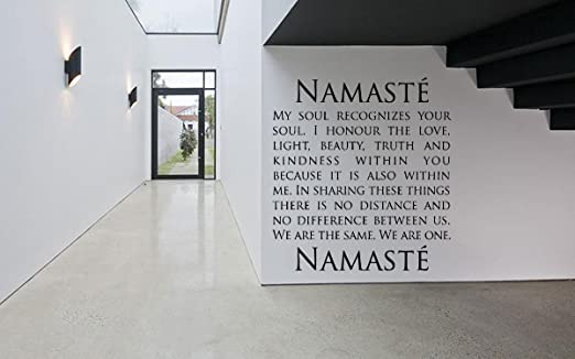 Removable Vinyl Sticker Mural Decal Art Decor Namaste Word Phrase Quote Yoga Studio Business Poster Peace Meditation Sign Logo SA134