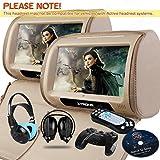 XTRONS Beige 2X 9'' Twin Car Headrest DVD Player Pillow HD Touch Screen Monitor MP3 Game Disc IR Headphones