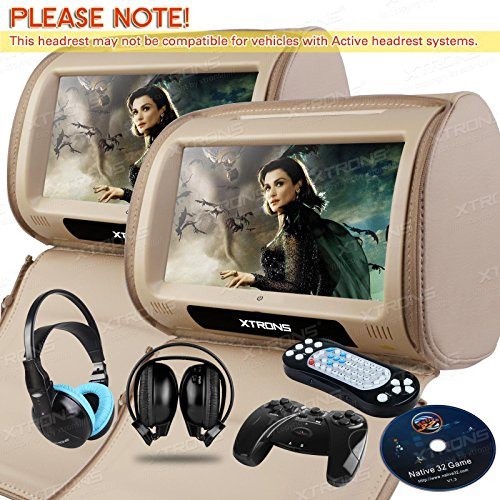 (XTRONS Beige 2 X 9 Twin Car Headrest DVD Player Pillow HD Touch Screen Monitor MP3 Game Disc IR Headphones)
