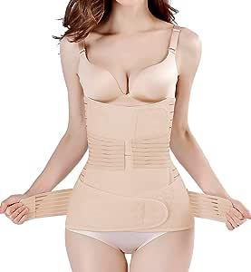 2 in 1 Postpartum Support Recovery Belly Wrap Waist/Pelvis Belt Body Shaper Postnatal Shapewear (Nude, One Size)