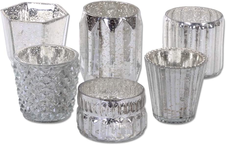 Koyal Wholesale Mixed Silver Mercury Glass Candle Holders, 6-Pack, Mismatched Candle Holders for Candle Votives, Assorted Modern Geometric Decor, Quinceanera, Bridal Shower, Baby Shower