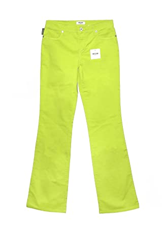 63a39e4d14c Moschino Donna Lime Green Cotton Jeans Made in Italy at Amazon ...