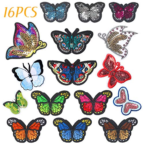 16 COLORFUL BUTTERFLY APPLIQUES