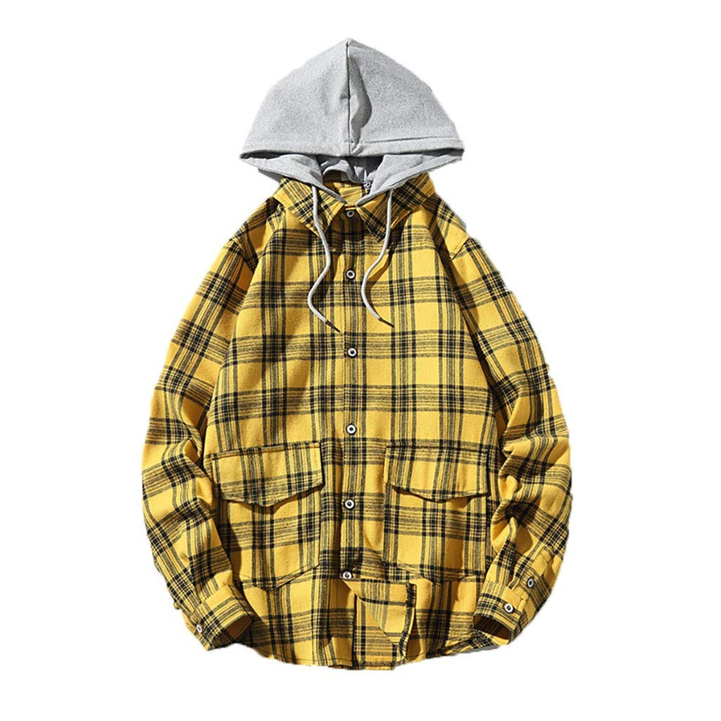Mens Long Sleeve Plaid Print Hooded Jacket Plus Size Casual Coats Outwear Sweatshirts with Pocket (Yellow, XXL) by Vicbovo Clearance