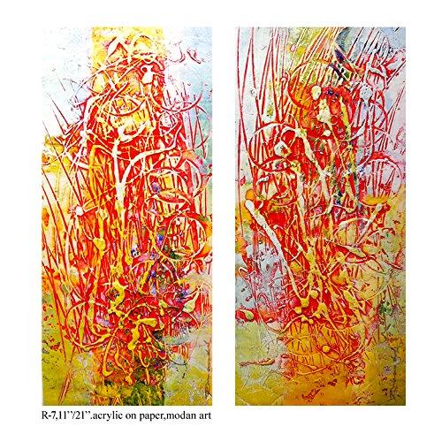 (Pooja ki Potli Untitled- R-7 Original Modern Art Acrylic Painting on Handmade paper-Set of 2- Home Décor- Interior Décor 11