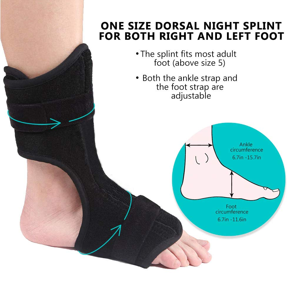 Black Fits Left or Right Foot /… Achilles and Heel Spur Relief Aimik Drop Foot Orthotic Brace with Adjustable Strap for Effective Relief from Tendon Stretch Plantar Fasciitis Night Splint Brace