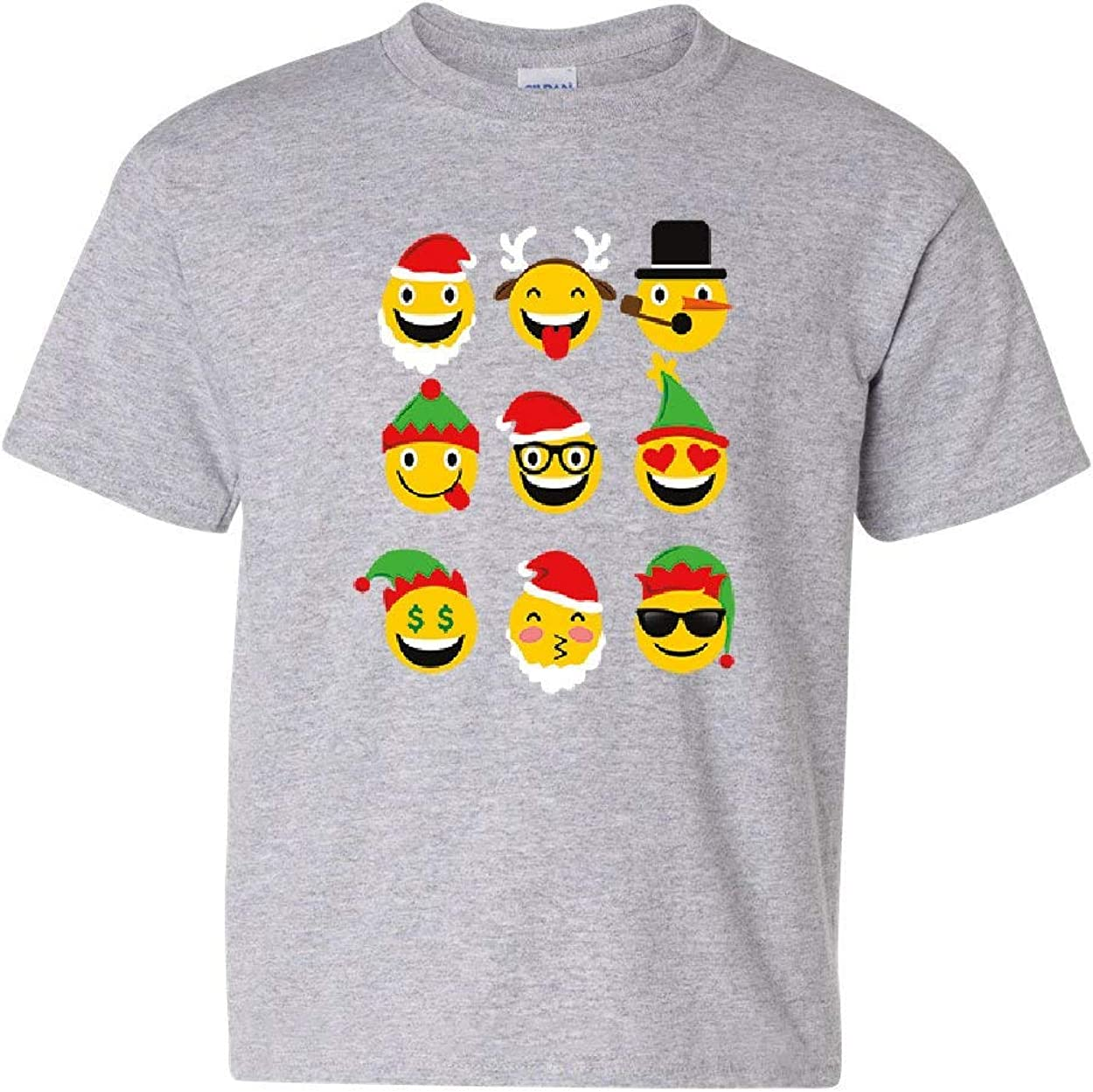 Cute Christmas Emojis Youth T-Shirt Xmas Smiley Faces Rudolph Holiday Kids Tee