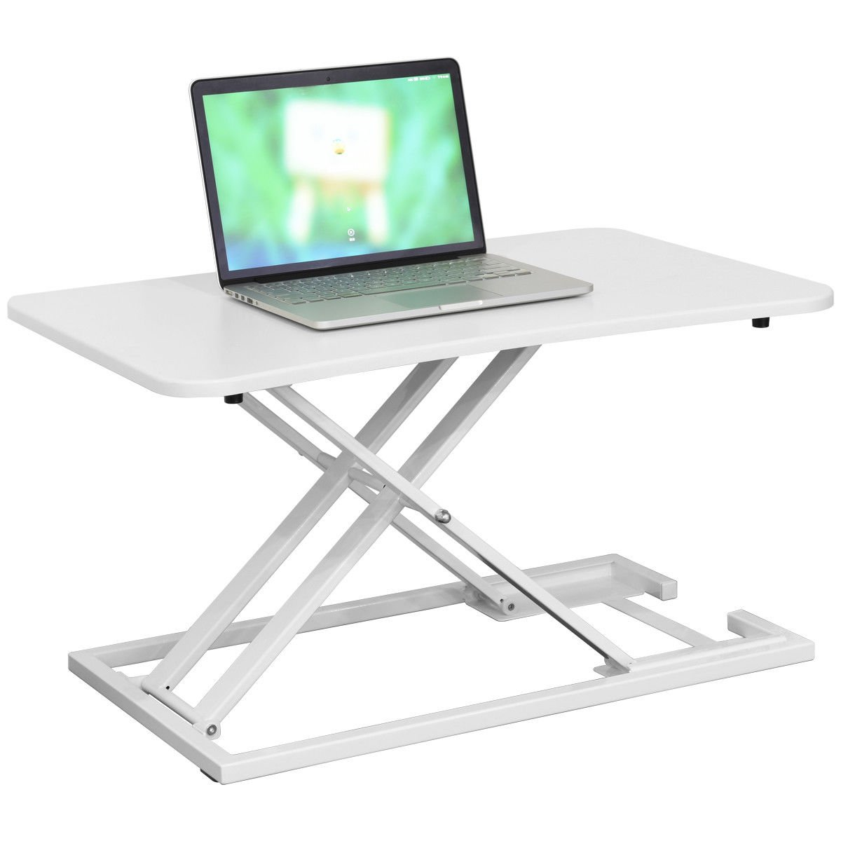 Height Adjustable Standing Laptop Notebook Convertible Desk Computer Workstation Study Writing Multifunction Multipurpose Table Spacious Work Area Innovative Air Pump System Allows For Easy Adjustment