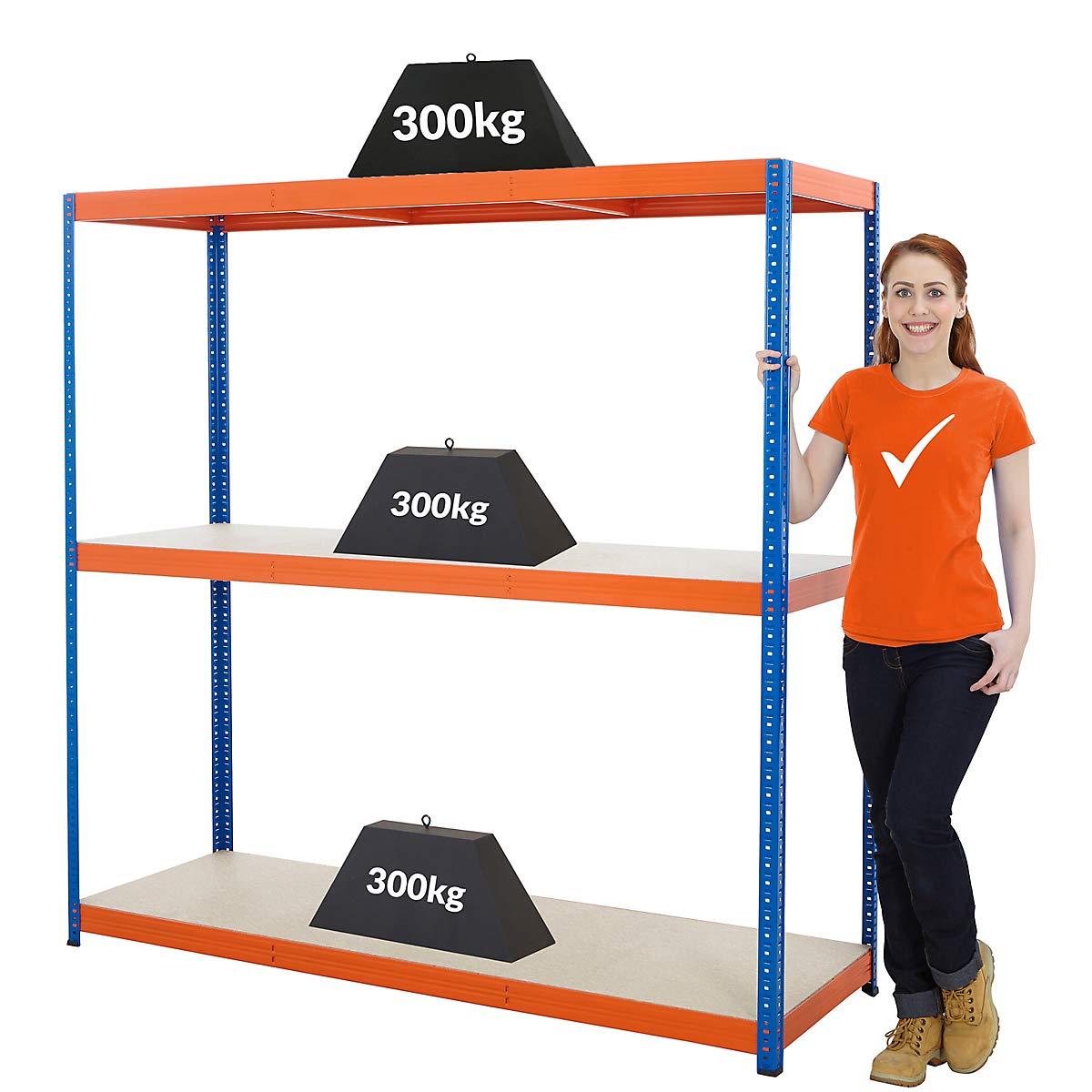 Charge maximale de 300 kg par /étag/ère Rayonnage m/étallique Charge totale acceptable 1200 kg HxLxP 180 x 140 x 60 cm Certeo Rayonnage pour charges lourdes Profondeur 60 cm