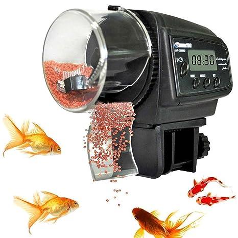 TOPBEST alimentador automático de peces LCD digital para acuario, alimentador de peces, estanque de