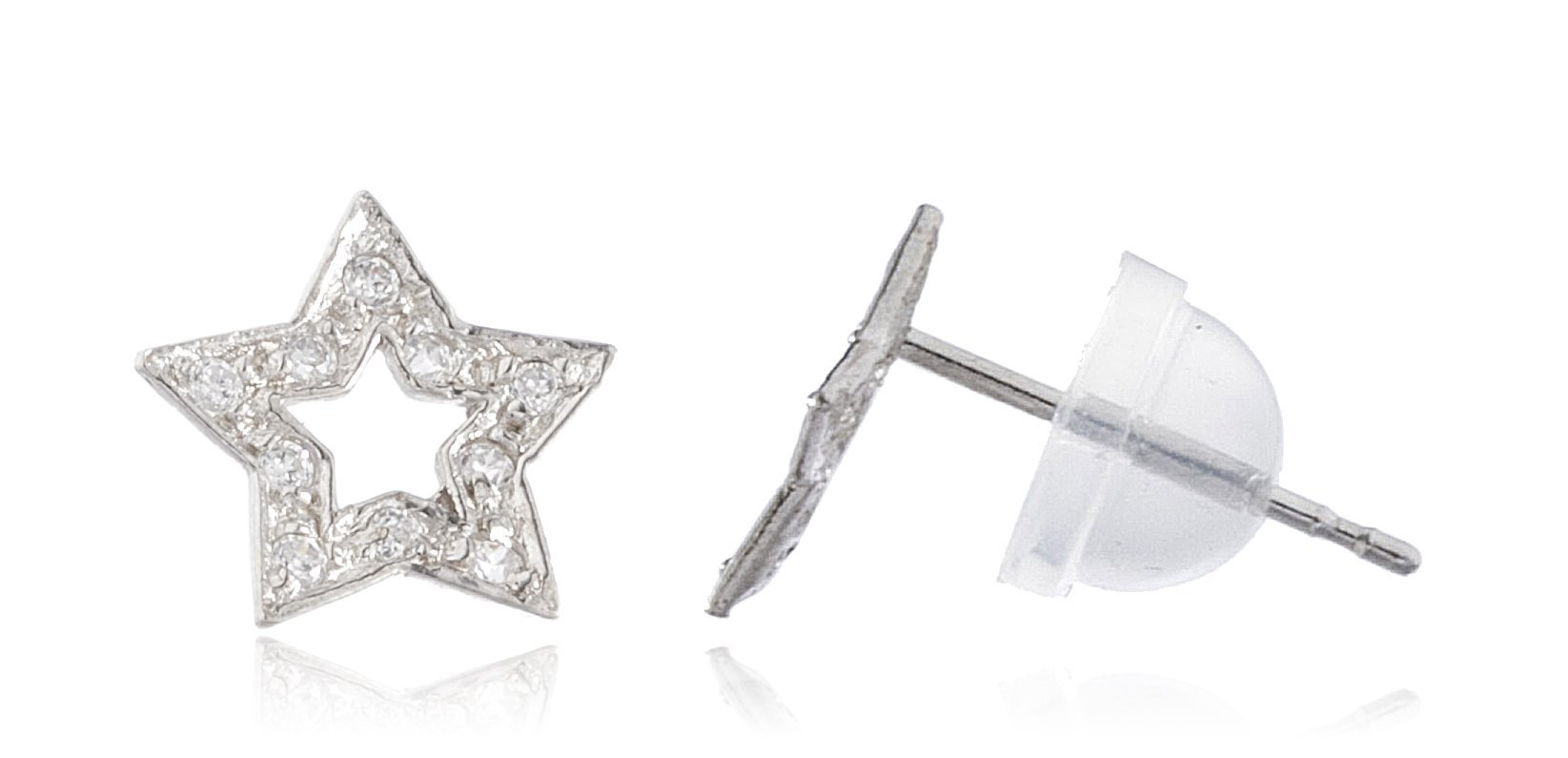 14k White Gold 5-point Star with Cz Stones Stud Earrings With Silicone Back (GO-825)