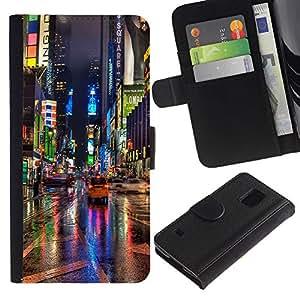 LASTONE PHONE CASE / Lujo Billetera de Cuero Caso del tirón Titular de la tarjeta Flip Carcasa Funda para Samsung Galaxy S5 V SM-G900 / Broadway Street City New York Rain Lights