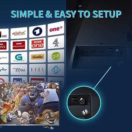 1byone Ultra plana antena TV TDT interior DVB-T DVB-T2, Mayor rango de recepción de 40 KM, con materiales de alta calidad, 4 metros de cables de alto ...