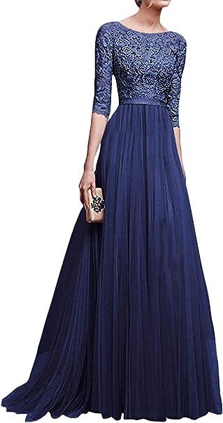 Minetom Damen Elegant 3 4 Armel Kurzarm Brautjungfern Kleid Floral Spitzen Abendkleid Dress Maxikleid Lang Tullkleid Ballkleid Cocktail Hochzeit Amazon De Bekleidung