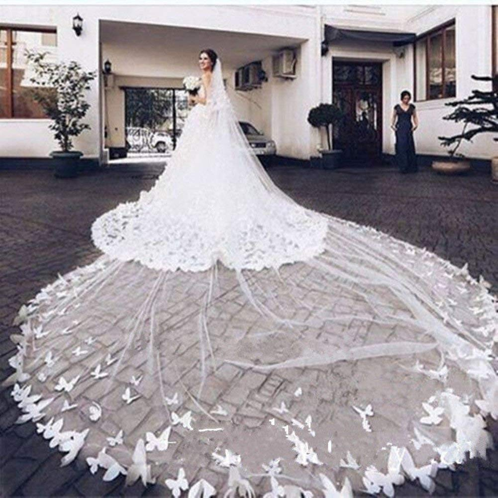 Fenghauvip 2 Tier Cathedral Wedding Veils 3D Butterfly Appliques Veils for Bride Free Comb by Fenghuavip (Image #2)