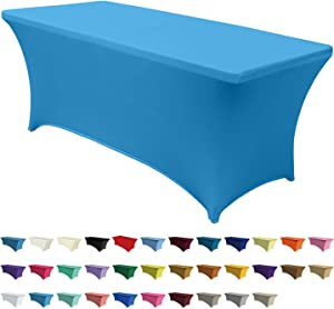 ABCCANOPY Spandex Tablecloths for 8 ft Home Rectangular Table Fitted Stretch Table Cover Polyester Tablecover Lash Bed Cover Table Toppers Massage Table Cover, Turquoise