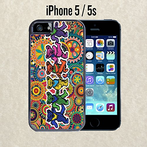 iPhone Case Grateful Dead and Dancing Bears for iPhone 5 / 5s Black 2 in 1 Heavy Duty (Ships from CA)