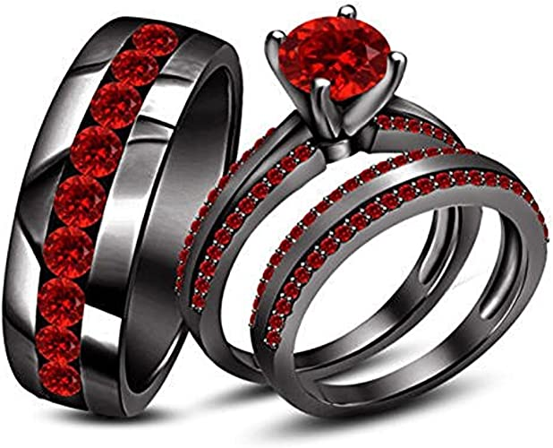 Amazon Com Round Red Ruby Stone His Her Trio Ring Set In Black