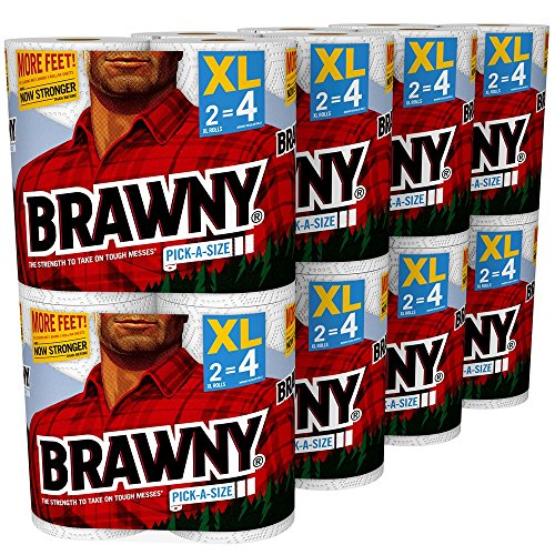 Brawny Pick-a-Size Paper Towels, White, XL Rolls, pack of 16 count