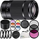 Sony E 55-210mm f/4.5-6.3 OSS Lens (Black) 10PC Accessory Bundle – Includes 3PC Filter Kit (UV + CPL + FLD) + 4PC Macro Filter Set (+1,+2,+4,+10) + MORE