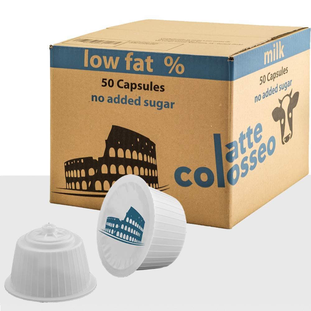 Latte Colosseo 50 Dolce Gusto Compatible Pods (MILK LOW FAT, NO SUGAR ADDED, 50 Capsules, 50 Servings)