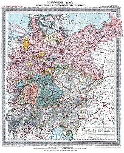 Historische Karte: Deutsches Reich - Deutschland, nebst Deutsch-Österreich und der Schweiz, um 1903