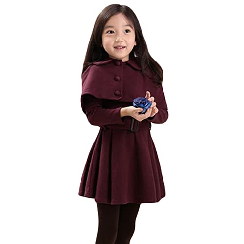 Taiycyxgan Girls Long Sleeve Princess Dress Woolen Winter Dress with Shawls Cape