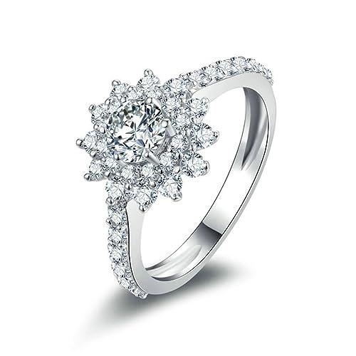 Daesar Joyería Anillos de Compromiso de Plata S925 Mujer, Sun Flor Vintage Halo de Diamantes