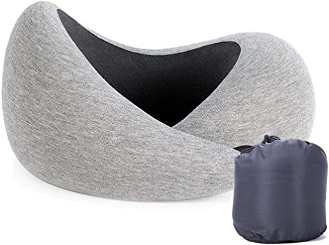 attractive price buy cheap 100% quality OUOY Travel Pillow, 100% Pure Memory Foam Neck Pillow for Airplane Travel  to Support The Head, Neck and Chin in Any Sitting Position (Gray)