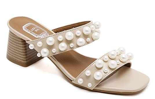Damen Süß Schleife Künstliche Perlen Zehentrenner Sandalen Beige 38 EU  Easemax Billig Verkauf Am Besten Mit 2eb7995a31