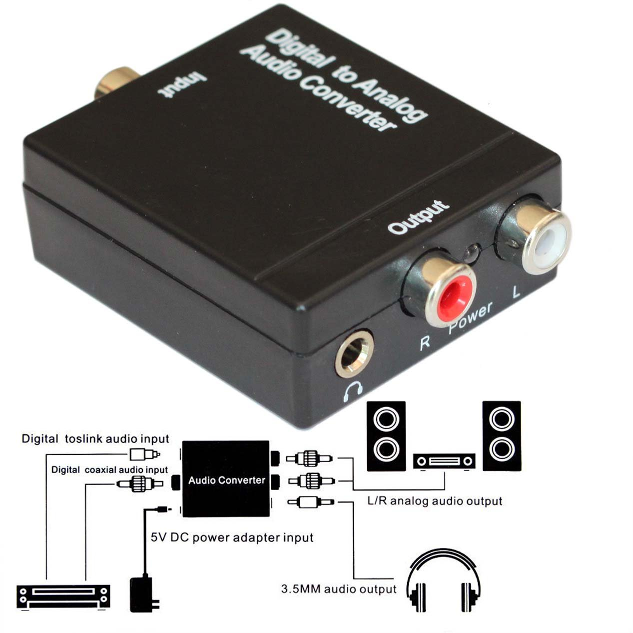 EASYDAY Digital to Analog Audio Converter - Optical SPDIF Toslink Coaxial to RCA L/R Adapter with 3.5mm Jack, 24-bit 192kHz DAC Supports Simultaneous Headphone and Speaker Outputs DAC3.5_US2